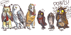 owl friends by HauntedHomo