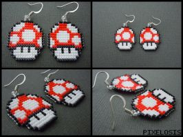 Red Mushroom Earrings by Pixelosis