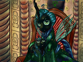 Queen Chrysalis and Princess Pupa - Royal Portrait by MagicMan001