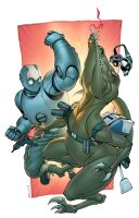 Atomic Robo vs Dr Dino by spidermanfan2099