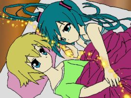 miku and len in bed by Namaki