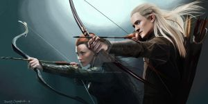 Tauriel and Legolas Digital Painting by Dario1crisafulli