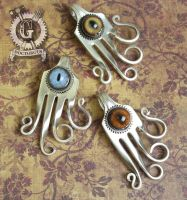 Steampunk Cyclops Squid Fork Pendants by Doctor-Gus