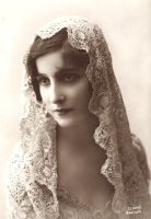 Vintage lady with Mantilla III by MementoMori-stock