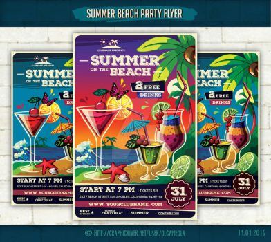 Summer Beach Party Flyer Template #2 by olgameola