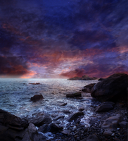 Rocky Beach at Sunset Premade Background STOCK by KijaniKinyonga