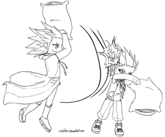Axel vs Lea -pillowfight- by ssceles