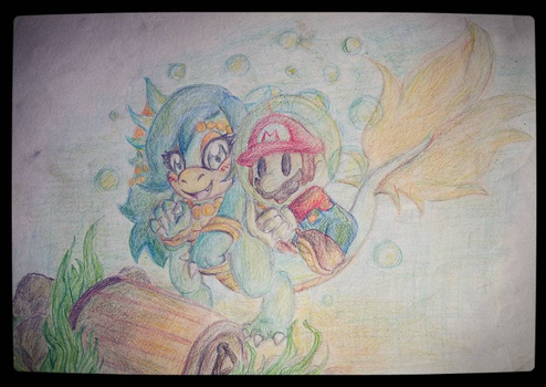 Paper Mario and Nessie Koopa - Diving for Treasure by Roxtopus
