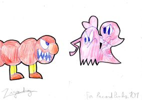 Mr Pinky Vs. Wiggler(REDRAWN) For Pacandpinky101 by zigaudrey