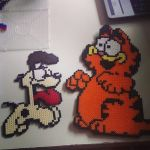 odie and garfield - perler beads by staubtaenzerin