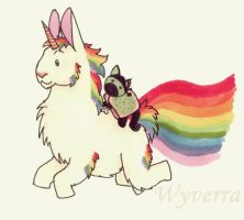 Ninja zombie nyan cat riding a llamacorn by Wyverra