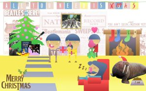 The Beatles Xmas Wallpaper by the-JACKANAPES