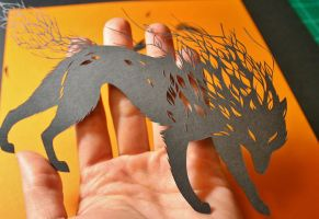 Close up Wolf PAPER CUTTING by Snowboardleopard