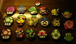 Perler Buttons by Blackshadowbutterfly