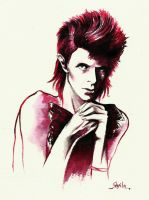Hot Red: David Bowie by girl-skeleton