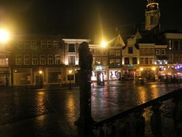 Gouda City Hall Stairs, Lone Guardian by CyranoInk