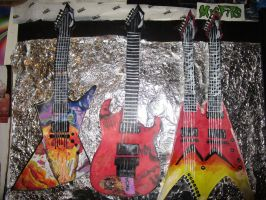Megadeth Guitars with tin foil background by ShelbyLynnHoover
