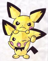 Pokemon Colouring - Pichu Bros by Dragonix