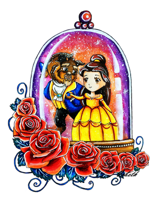 Beauty and the Beast in a snowglobe by icbeth