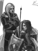 Elves in Beleriand - sketch by Maureval