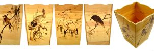 Wooden planter japanese birds by ChibiPyro