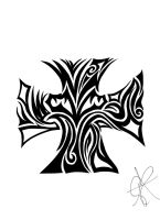 Iron Cross Tribal Tattoo by shadowfox94