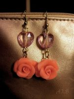 Earrings Pink roses by NastasiaHands