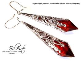 Red Warrior Art Earrings by Theopanu