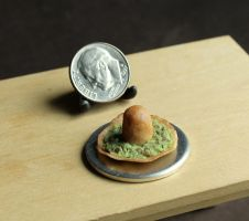 Miniature Tortilla Sombrero filled with Guacamole by fairchildart