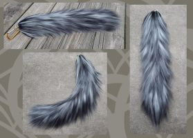 Commission - Realistic gray wolf yarn tail by Black-Heart-Always
