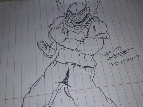 Vegito sketch fighting pose by ZiggyXD