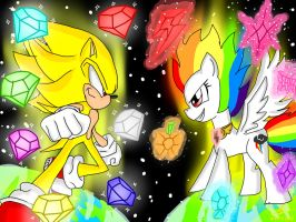 Super Sonic And Super Rainbow Dash by mkf2308
