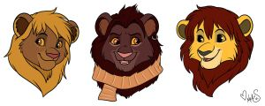 chibi heads for TLK-SIMBA-SANDSLASH by Miss-Melis