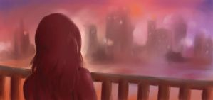 Speedpainting: City On Fire by Corvus-Rose