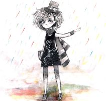 Colorful rain - Monochrome by AnnRosalyn