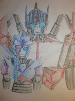 Firewing Pax and Optimus Prime:RQ: by DianaPrime