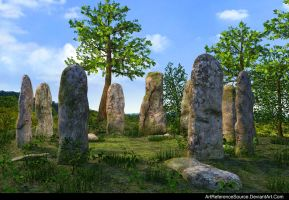 Stock:  Ceremonial Stone Pillars Background by ArtReferenceSource