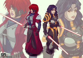 Sith: Zaria Yrisme and Onyxa Solaris (Commission) by Batomys2731