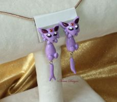 Espeon Earrings Pokemon Handmade Custom by TorresDesigns