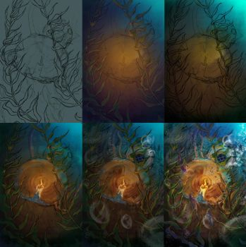 Candle underwater wip by Dragonwinger