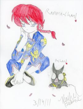 Ranma-chan and P-chan-colored by OtakuPrincess1991
