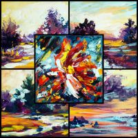 Acrylic paintings collage 1 by Mishelangello