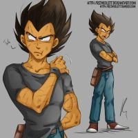 DBZ - College AU - Vegeta (First Design) by RedViolett