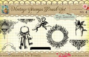 Vintage Stamps PS Brushes 4 by starsunflowerstudio