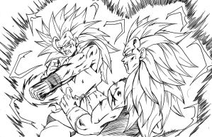goku ssj3 vs vegeta ssj3 by ChibiDamZ