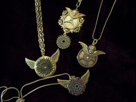 Steampunk Winged Pendants by SteamPunkJennie
