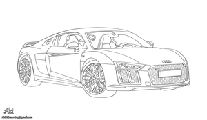Audi R8 v10 Plus - lineart by AkiDIDmorning