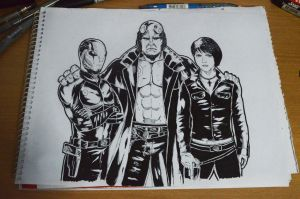 Commission: Hellboy, Liz, and Abe by abe70280