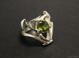 Trinity Knot Ring with Peridot by Dans-Magic