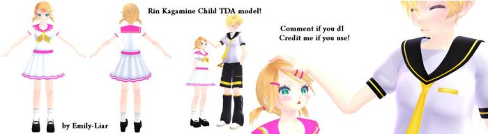 [MMD] Rin Kagamine TDA child model download! by Emily-Liar
